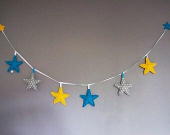 Wreath of stars cotton fabric on their satin ribbon