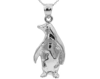 10k White Gold Penguin Necklace