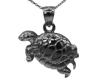 925 Black Sterling Silver Turtle Necklace