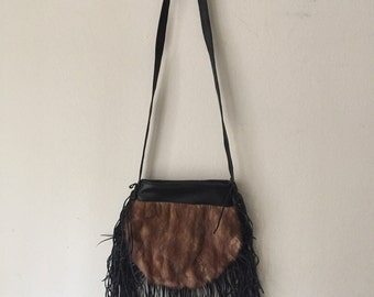 Brown crossbody women's handbag, from real mink fur, leather & leather fringe, fluffy fur, new handbag, warm handbag, size - small.