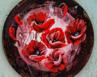 Red Poppy, Circle Wooden Painting, Poppies, Original Art