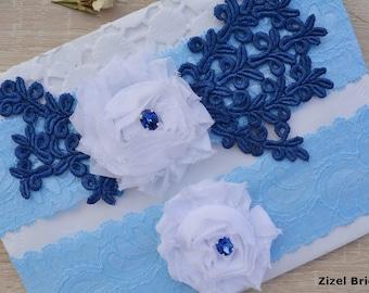 Blue White Garter, Wedding Garter Set, Flower Garter, Lace Wedding Garter, Bridal Garter, White Wedding Gift, Handmade Garter, Bridal Garter