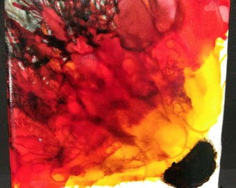 Alcohol ink flower coaster
