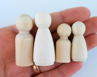 4 figures of natural wood - 4 wooden peg doll - Wooden toy-toys from wood-Holzspielzeug - jouets in bois - figures to paint -
