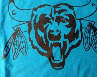 Chicago sports. Bears. Blackhawks. Bulls. Favorite Chicago teams! 3 teams logos.