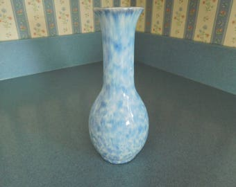 Vintage Blue and White Speckled Bud Vase