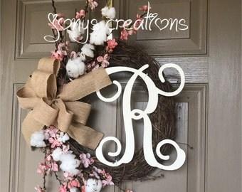 Spring wreath, cotton ball wreath, blossom wreath, front door wreath, grapevine wreath, cotton wreath, door wreath,farm house wreath