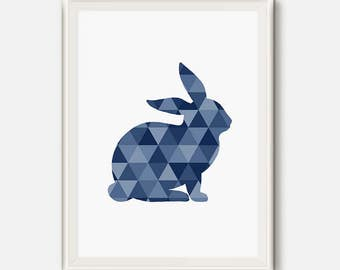 Rabbit Print, Geometric Rabbit, Animal modern Art, Blu animal Poster, Navy Wall Art, Rabbit Art Print, Blue Navy Artwork, Triangle Wall Art