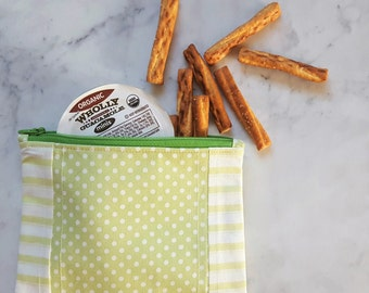 "Reusable Snack Bag - Make-up Bag - Toiletries Bag - Eco Friendly Lunch Bag - Reusable Sandwich Bag - Fabric Zipper Bag - 6 3/4"" x 5 1/2"""