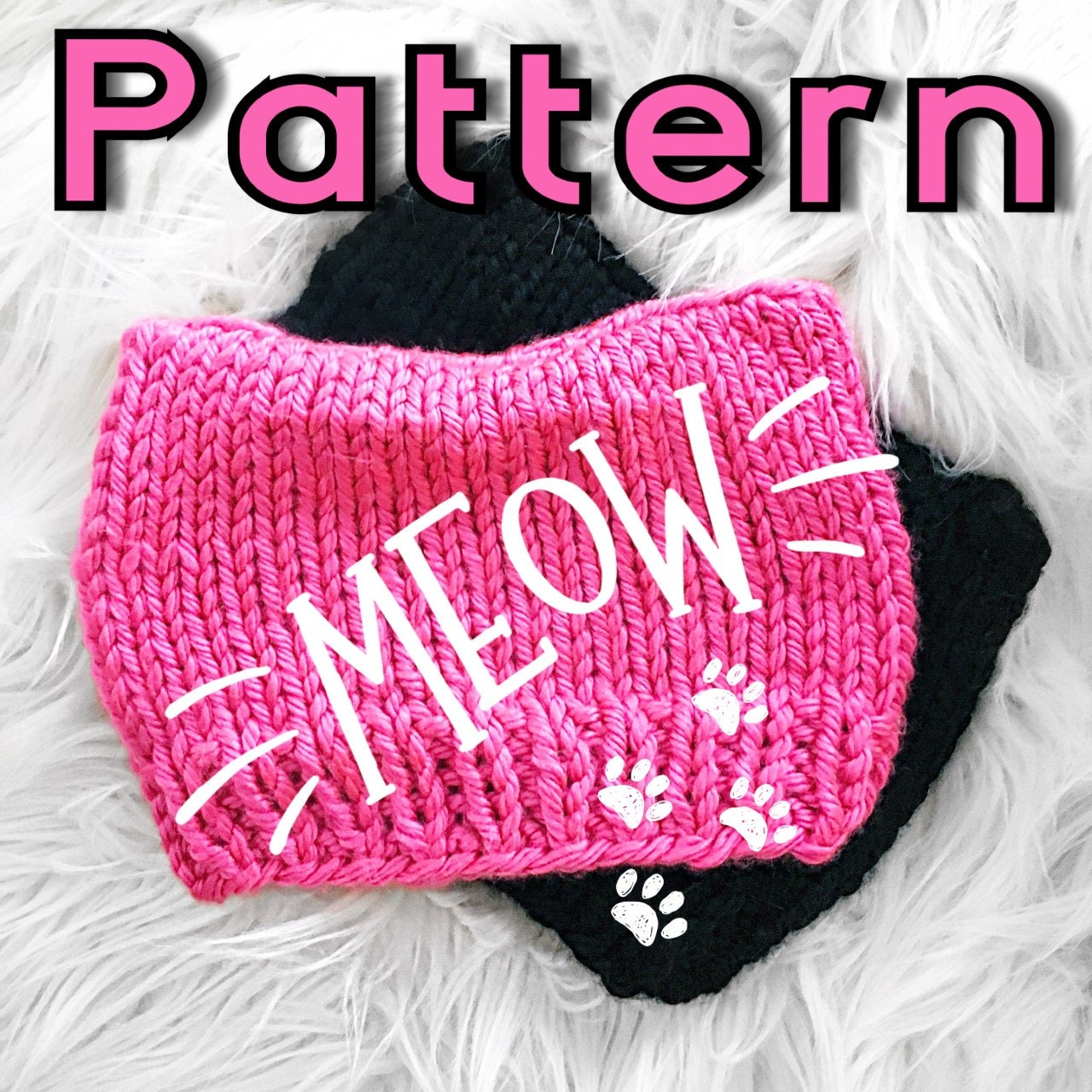 Knitting patterns crochetstorie knitting pattern cat beanie pattern cat hat pattern easy knit pattern bankloansurffo Gallery
