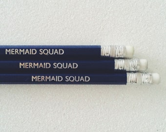 Mermaid squad pencils | HB pencil | Mermaid stationery | Mermaid pencil