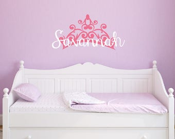 Princess Tiara Wall Decal - Girl Name Wall Decal - Removable Vinyl Wall Decal
