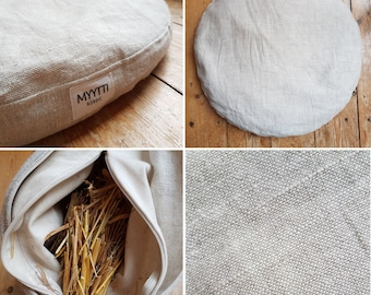 KYOTO Bodenkissen mit Strohfüllung/linen floor cushion with straw filling – ökologisch – ecological