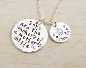 Sons are the anchors of a mother's life, mother and son, mothers day, anchor necklace, of a mothers life, mothers necklace, gift for mom