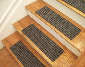"""Essential Carpet Stair Treads - Style Classy - Color Gray Black - Size 24"""" x 8"""" - Sets of 4, 7, 13, or 15"""