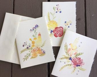 4 Flower Notecards
