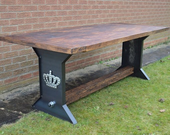 Large Industrial Reclaimed Farmhouse Loft Dining Table with steel I-Based Leg