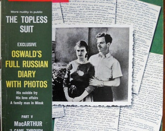 Life Magazine  July 10, 1964.  Lee Harvey Oswald Full Russian Diary.  JFK assassination memorabilia.  Lee H. Oswald and wife Marina Oswald.