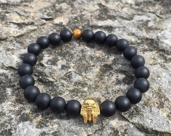 Matte Onyx & Tiger Eye Pharaoh Bracelet, Men's bracelet, Gemstone bracelet, Pharaoh beaded bracelet, valentine's day gift