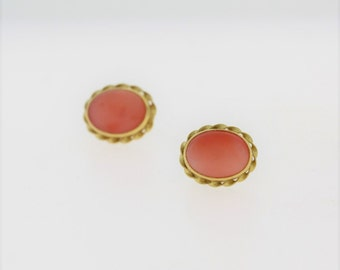 Vintage Oval Pink Jade Gold Rimmed Earring- 14k Yellow Gold