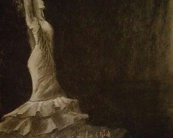 print of drawing, Flamenco dancer