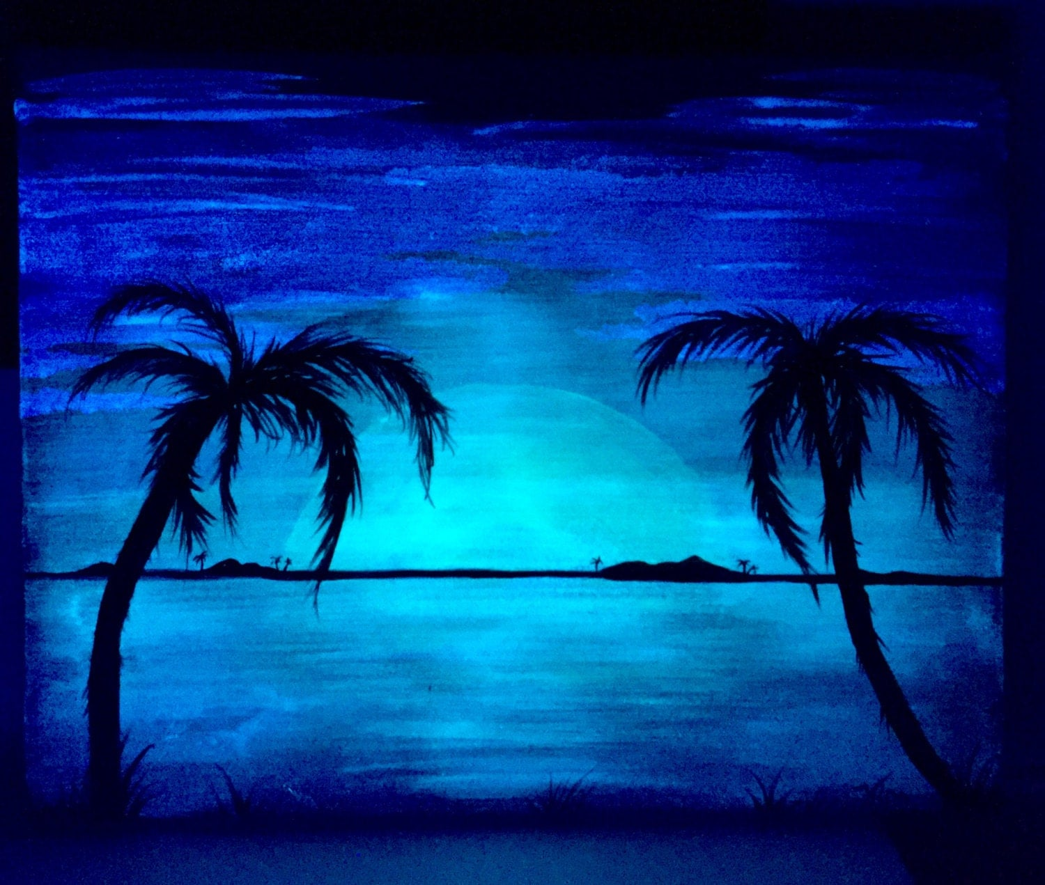 Palm Tree Beach: Palm Tree Beach Glow In The Dark Landscape 2 In 1 Acrylic Art