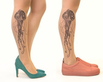 Tattoo Tights/Pantyhose with Black Jellyfish - FREE SHIPPING