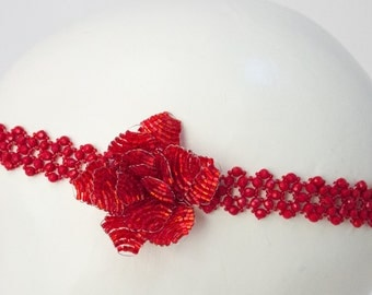1920s Style Flapper Hand Beaded Flower Headpiece, Art Deco.