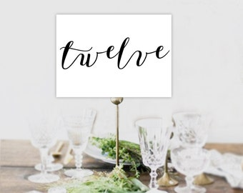 Calligraphy wedding table numbers, wedding table numbers, wedding table numbers printable, table numbers,