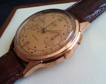 OFFER TITUS CHRONOGRAPH, Vintage Titus Chronograph Landeron 148, Swiss Titus Chronograph, Swiss Chronograph, Swiss Gold Plated Case Watch