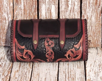 Tooled Motorcycle Tool Bag / Handtooled Leather Bag / Leather Fork Bag / Leather Motorcycle Accessories