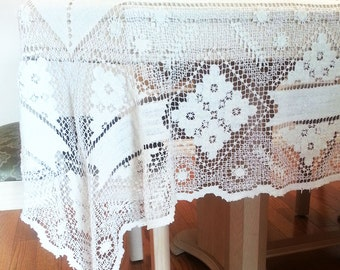Filet Lace Table Cloth, rectangular, 1350 x 1020 mm, Vintage Table Cloth, Handmade,Cream color, Table Cover, Cottage Chic,Vintage Filet Lace