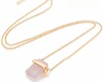 Pink and Gold Cube Crystal Necklace