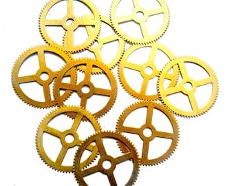 10pcs Steampunk Vintage Watch Movement Clock Parts Gears Cogs Wheels Large Size 44mm