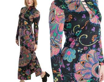 70s Don Luis Mod Floral Maxi Dress-1970s Spanish Designer Dress-Multicolor Abstract Print Jersey-Long Sleeve-M-Medium