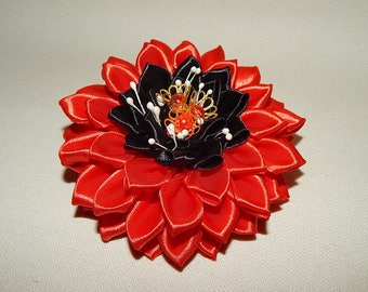 Kanzashi flower girls ladies hair bows clips. Red Flower Hairclip.