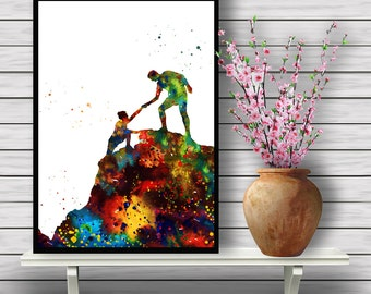Colorful Mountain Climbers, Watercolor Room Decor, in Nature, Rock Climbing, Wall Hanging, Home Decoration, gift, Instant Download (409)