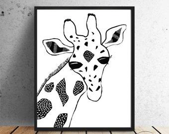 Giraffe - Drawing by Faboomie