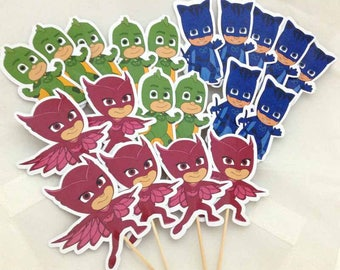 PJ Masks Cupcake Toppers Topper with stick Set of 18 Custom Made
