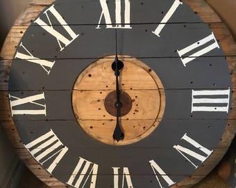 """40"""" Giant wood spool reel clock"""
