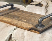 Reclaimed Wood Tray - with industrial handles.