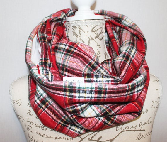 Hidden zipper pocket flannel scarf red white black for Travel shirts with zipper pockets
