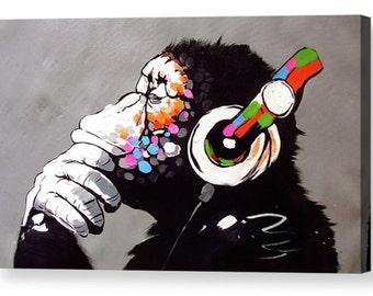 """Banksy """"DJ Monkey, Gorilla, Ape"""" Canvas Box Art A4, A3, A2, A1 ++"""