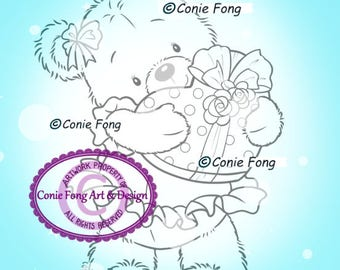 Digital Stamp, Digi Stamp, Digistamp, Bella With Gift by Conie Fong, Coloring, Teddy Bear, Love, Valentines, Heart, birthday, Mother's Day