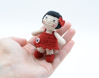 Crochet doll for dollhouses, crochet dolly, miniature toy, tiny doll, shower gift, cute girl's gift, red mini dress, collectible dolls
