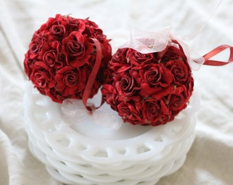 Christmas Ornaments Rose Ball Red, Set of 2