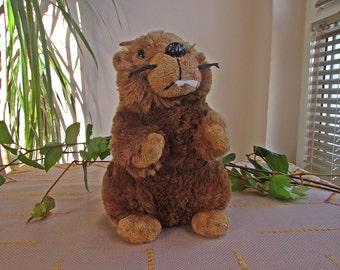Vintage 80's Lovely Beaver, Plush Beaver, Stuffed Animal,  Vintage Beaver Toy, Nursery Decor, Puppet Theater Beaver, Kids Toy, Soft Toy