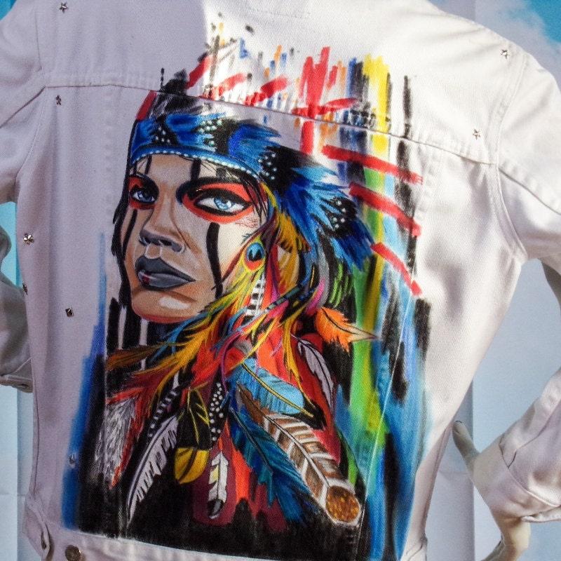 veste jean blanche veste en jean motif indienne peint main taille m levis. Black Bedroom Furniture Sets. Home Design Ideas