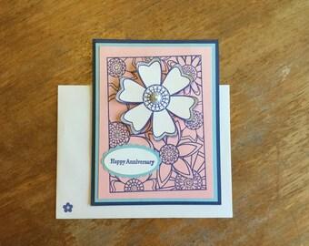 Flower Happy Anniversary Card