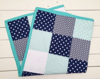Baby Crib Quilt - Arrows and Polka Dot, Blue White and Teal, Baby Quilt, Blue Quilt, Baby Blanket